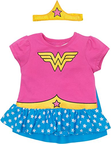 Warner Brothers Wonder Woman Toddler Girls' Costume Ruffle Shirt With Cape and Headband, Pink -