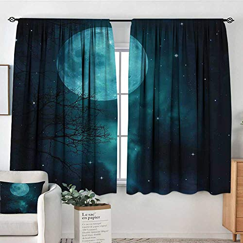 Elliot Dorothy Home Decoration Thermal Insulated Curtains Space,Moon on Starry Sky Universe Cosmos Space Themed Mystical Twilight Celestial Scenery,Petrol Blue,for Bedroom,Nursery,Living Room 42