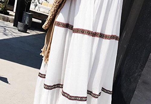 Chiffon Elegante Womensummer Boho Beachwear Jaycargogo V Bianco Collo Vestito xOHwAqEx