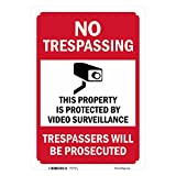"SmartSign Aluminum Sign, Legend""No Trespassing-Video Surveillance"" with Graphic, 10"" High X 7"" Wide, Black/Red on White"