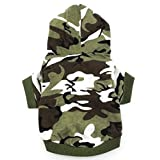 smalllee_lucky_store Army Green Hoodie Hooded Christmas T Tee Shirt Small Dog Clothes Costume - Green camo (Small (Chest14 Back8.5))