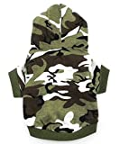 smalllee_Lucky_Store Army Green Hoodie Hooded Christmas T Tee Shirt Small Dog Clothes Costume - Green camo (Medium (Chest16.5 Back11))