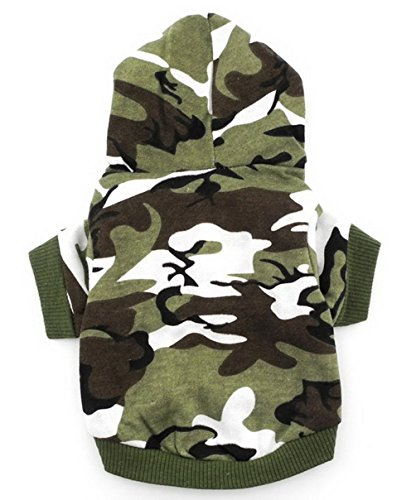 smalllee_Lucky_Store Army Green Hoodie Hooded Christmas T Tee Shirt Small Dog Clothes Costume - Green camo (X-Small (Chest12 Back7)) - Camo Dog Hoodie Clothes