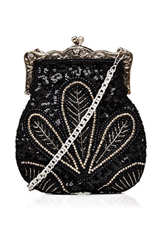 Dollie Vintage Inspired Hand Beaded Flapper Purse in Black Black Glass Beaded Purse