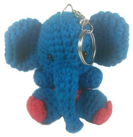 [Chic Cute 2 in 1 Hand Knit Keychain Doll, Blue Red Elephant Animal] (St Bernard Baby Costumes)