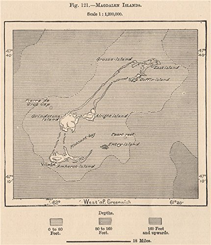 Magdalen Islands. Îles de la Madeleine. Quebec, Gulf of St Lawrence - 1885 - old map - antique map - vintage map - printed maps of - Address Shipping Canada
