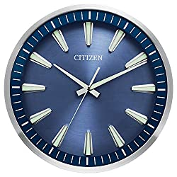 Citizen CC2010 Gallery Wall Clock, Silver and Dark Wood
