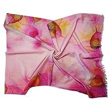 Purple Pale Pink Leaf Design Long Fine Pure Wool Scarf/ Wrap