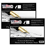 US Art Supply PCP70-09X12-2PK Premium Calligraphic Practice Paper Pad, Calligraphy Paper With...