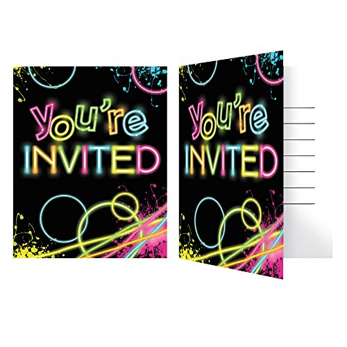 Neon Glow Party Invitations - Pack of 24]()