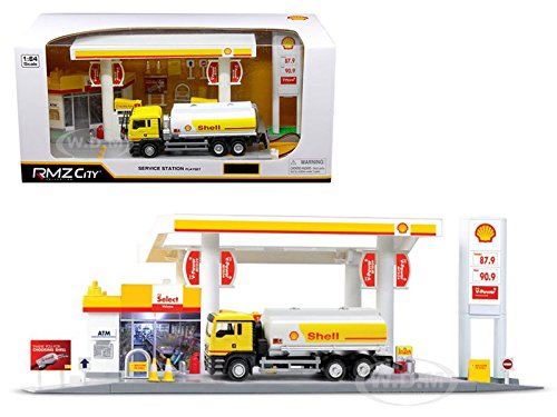 RMZ City 24444-SHELL Shell Service Gas Station with Tanker Play Set 1/64