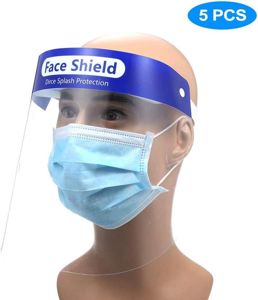 Heatile Protector Facial de Seguridad Tapa de protección Completa Lente Anti-vaho Resistente a la Visera Amplia Lente Facial Transparente Ajustable Ligera para Hombres Mujeres (5Pcs)