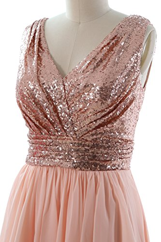 V High Dress Prom Rose Neck Gown Party Formal MACloth Low Women Ivory Gold Chiffon Sequin Straps aYEYBwqS