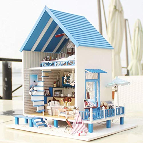 CuteRoom A-018-A Romantic Aegean Sea Miniature Model With Music Gift Collection - Dolls & Stuffed Toys Doll House & Miniature - 1 x DIY Dollhouse Kit (With English Instructions)