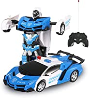 GAINER Transform Car Robot, Robot Deformation Car Model Toy for Children, Transforming Robot Remote Control Car with One But