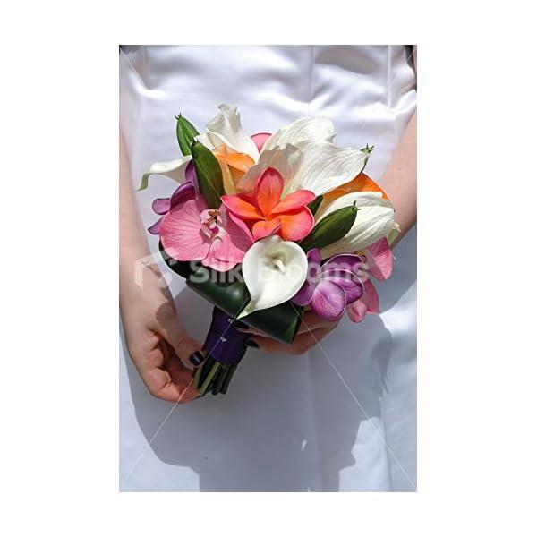 Colourful Frangipani Plumeria Bridal Bouquet with Amaryllis