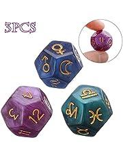Top-element 3 Piezas de 12 Caras de Astrología De Astrología Tarot Constelación Dados De Adivinación para El Hogar