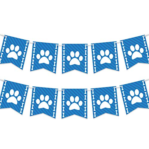 Bella and Bentley Novelty Puppy Dog Paw Print Banner - Pet Theme Birthday Party Decorations Supplies - 2 Pack