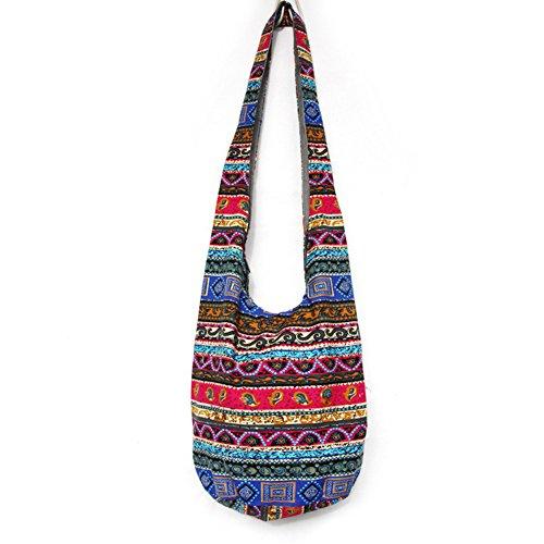 KARRESLY Bohemian Cotton Hippie Crossbody Bag Hobo Sling Bag Handmade Messenger Shoulder Bags(8-268)