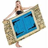 Mugod Beach Towel Bath Towels Country Vintage Style Stone House Antique Old Shutters in European Village Yoga/Golf/Swim/Hair/Hand Towel for Men Women Girl Kids Baby 64x32 Inch