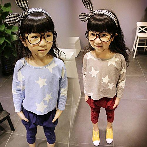 Urparcel Girls Loose T-shirts Crewneck Stars Print Tee Tops Long Sleeve Shirts