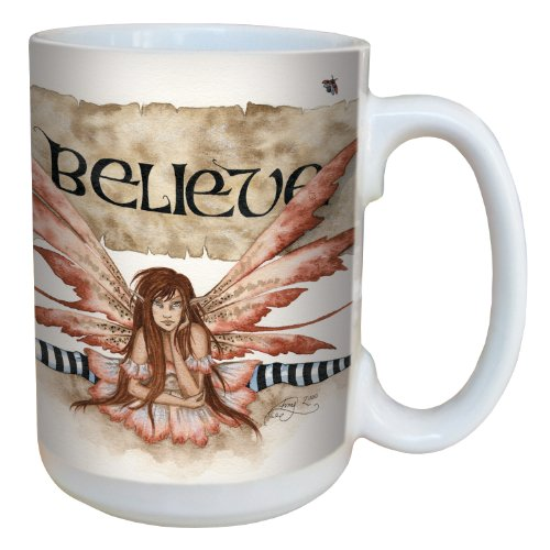 (Tree-Free Greetings lm43539 Quirky Believe Fairy Ceramic Mug with Full Sized Handle by Amy Brown, 15-Ounce )