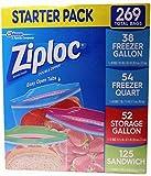 Ziploc Freezer Gallon, Freezer Quart, Storage Gallon, and Sandwich Bags - Variety Pack - 269 Total Bags