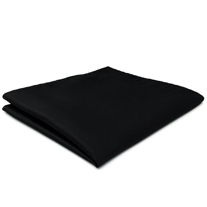 Shlax&Wing Hombre Traje De Negocios Seda Pañuelo De Bolsillo Para Color Sólido Negro 32cm