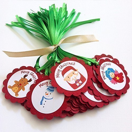 Red and Green Merry Christmas Holiday Gift Tags - Set of 12