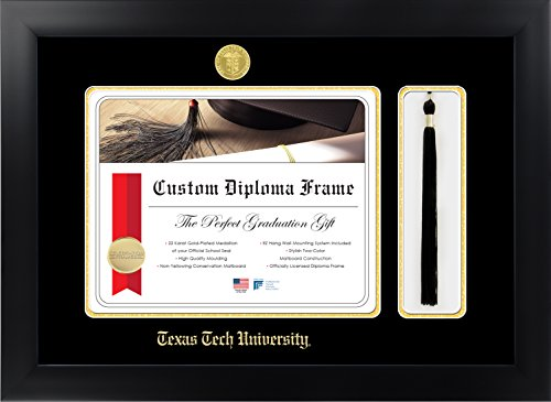 Texas Tech University 11 x 14 Matte Black Finish Infinity Diploma with Tassel Box Frame by Celebration Frames by Celebration Frames