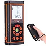Laser Distance Measure, RexBeTi Handheld Compact 131FT/40M Laser Meter with Leather Pouch, Metric Inch Foot Conversion, Black Orange