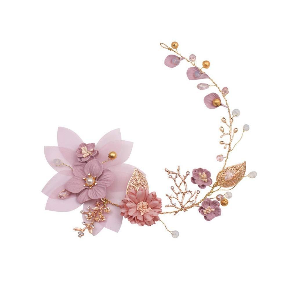 Wedding Pink Flowers Gold Headband