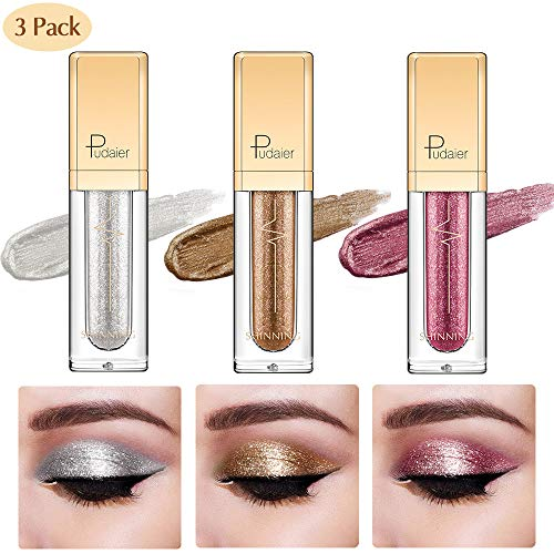 - Glitter Liquid Eyeshadow -3 Colors Long Lasting Waterproof Sparkling Eyeliner Eye Shadow Set for Women Girl (3 Color-SGY)