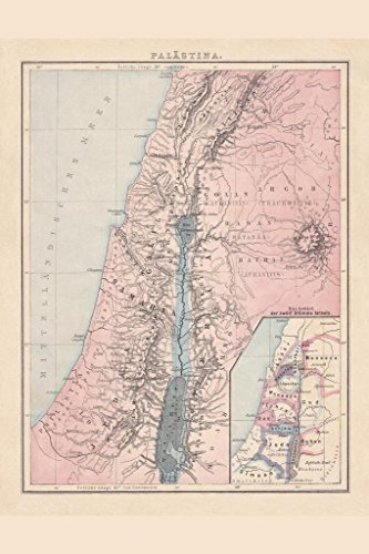 Laminated Palestine with The Twelve Tribes of Israel Historical Antique Style Map Sign Poster 12x18 inch