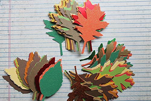 69 piece Autumn colored cardstock, plain, glittered, metallic tattered fall leaf die cuts 3 styles 23 of each