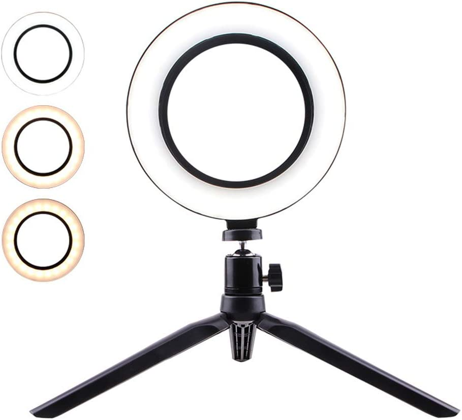 Liveday Fashion LED Ring Light Fill Lighting Dimmable with Tripod Stand for Phone Camera Photo Video Selfie