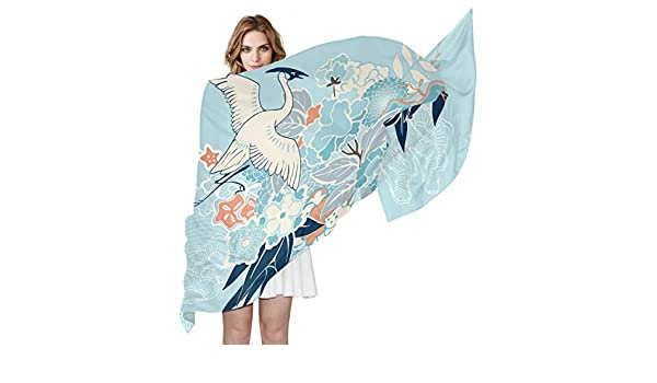 EELa Long Shawl Scarves Lightweight Soft Colorful Donut Sketch Printed Wrap 70x35 inches