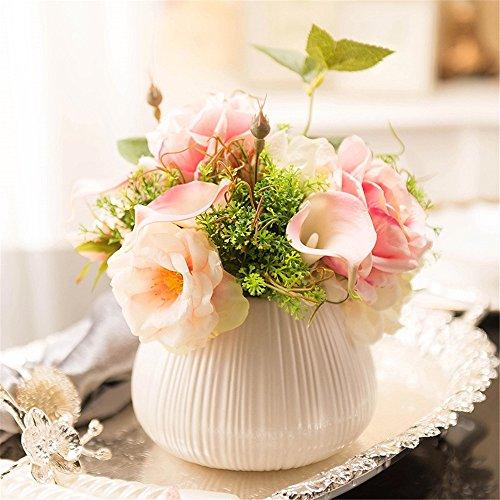 SituMi Artificial Flowers Calla LilyRoseVaseThe DecorSilk FlowerOrnaments,Pink ()