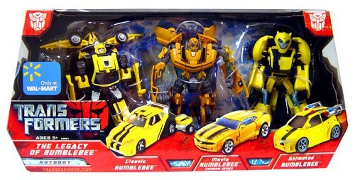 Transformers Exclusive Deluxe Action Figure 3-Pack Legacy of Bumblebee (Classic, Movie and Animated) -