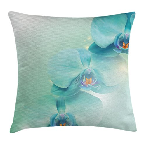 Flower Throw Pillow Cushion Cover by Ambesonne, Springtime Orchid Trio with Beams on the Background Digital Artistic Floral Print, Decorative Square Accent Pillow Case, 20 X 20 Inches, (Orchid Trio)