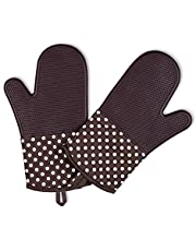 Homesy Oven Mitts Coffee Brown Oven Gloves 1 Pair - 500F Heat Resistant Non Slip Washable Silicone Oven Mitts - Use for BBQ, Cooking, Baking Soft Inner Lining and Hanging Loop