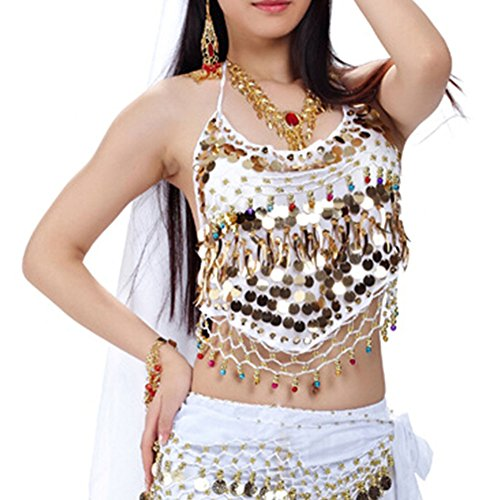 BellyLady Tribal Belly Dance Halter Banadge Bra Top With Pad-White -