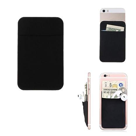 Cuigu Soporte de Tarjeta de Dos de teléfono móvil, Cartera Adhesiva de Vinilo para la Tarjeta de Identificación de crédito, Negro, 2.36