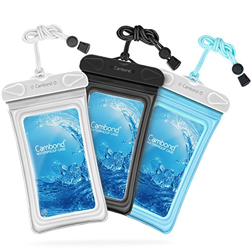 Waterproof Phone Case, 3 Pack Cambond Floating Waterproof Phone Pouch, Transparent TPU Water Proof Cell Phone Pouch Dry Bag with Lanyard for iPhone X 8 7 6s Plus Galaxy S9 S8 S7, Black Blue White from Cambond