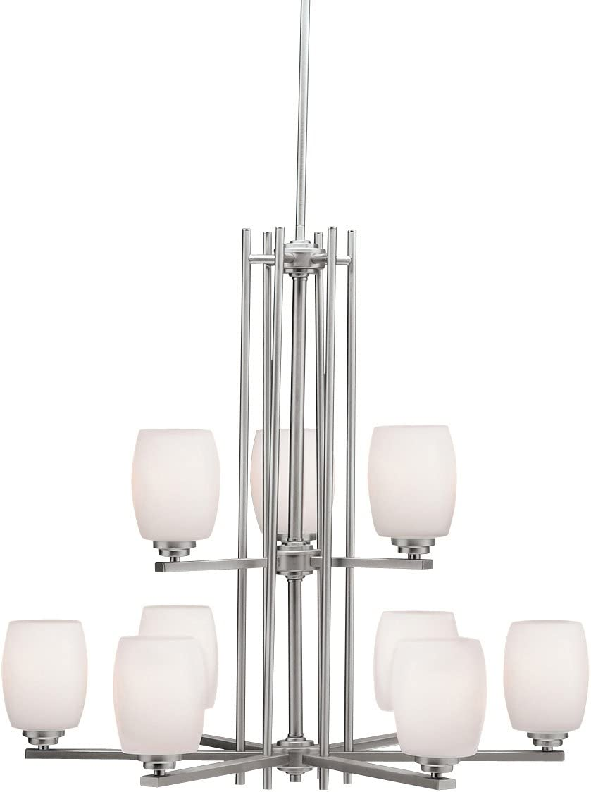 Kichler 1897NI Large Two-Tier Chandelier Lighting, Brushed Nickel 9-Light 30 W x 29 H 900 Watts