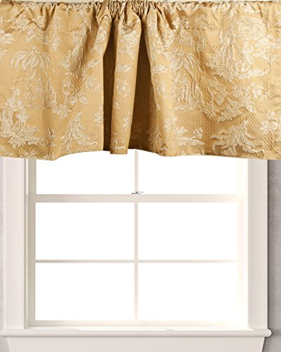TSC Woven ancient society on faux silk fabric Cafe window treatment Valance lined 50