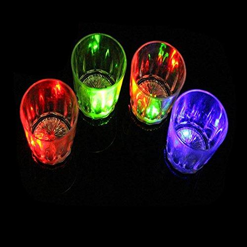 Yo&yo Light up Cola Glasses Flashing Blinking LED Cups Barware Bell Soda Glass Pop(5)
