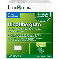 Basic Care Nicotine Gum 2 Stop Smoking Aid, Cool Mint, 160 Count