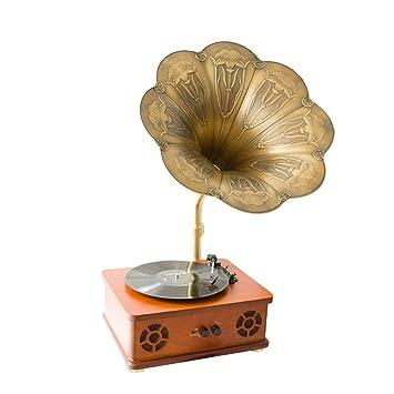 XINHUANG Discos de Vinilo, fonógrafo Retro Big Horn ...