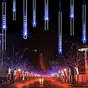 TianNorth Meteor Shower Rain Lights, 30cm 8 Tubes 240 LED Falling Raindrop Fairy String Light, Waterproof Tubes for…